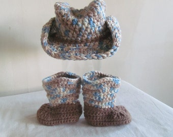 Blue Camo Hand Crocheted Baby Cowboy Boots and Hat