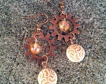 Heliocentric- Glass Bead Copper Gear Earrings
