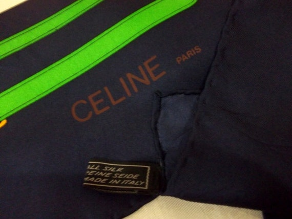 Vintage Celine Paris Navy Blue Border Horse by treasuryhunt