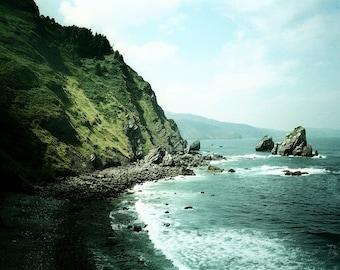 Wild spectacular Atlantic ocean print, blue emerald green wall art , Nautical seascape home decor