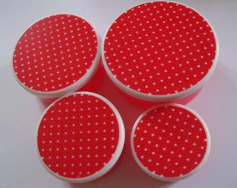 Humble Vintage red and white polka dot stacking nesting plastic storage containers x 4