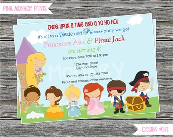DIY - Pirate and Princess Birthday Party Invitation #471 - Coordinating Items Available