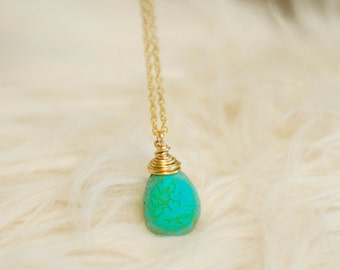 Ready to ship-Smooth Oval Teardrop Turquoise Gemstone Necklace Was 17.99 Now 12.00