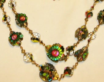 Vintage 50s GERMAN WATERMELON CRYSTAL Parure
