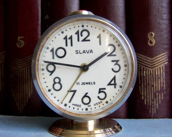 Vintage Soviet Mechanical Desk Clock Slava Alarm Clock USSR