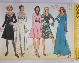 Vintage 1972 Simplicity 5343 ruffled DRESS Pattern sz 14 UNCUT
