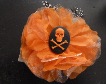 DARLING handmade lace large flower barette with a skull and crossbones cameo center