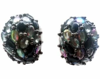 Black Rhinestone Earrings AB Finish Crescent Shape