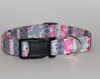 Pink and Grey Girly Dog Collar