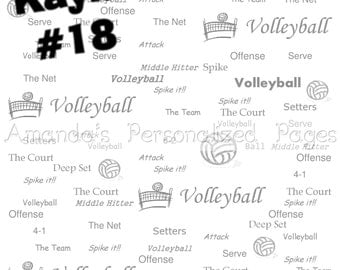12x12 Personalized Scrapbook  Paper (Volleyball 1)