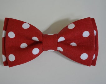BowTie-Red and White ,Bow-Tie Polka Dot, Bow Ties for Kids,Tie Clip, Mens Bow Tie,Bow Tie Clip,Clip On Bow Tie, Kids Bow Tie, Bow Tie Clips