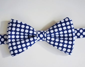 Mens Bow Tie- Blue and white polka dots mens bow ties, bowties for men, bow ties for kids, bowties for boys, toddler bow tie