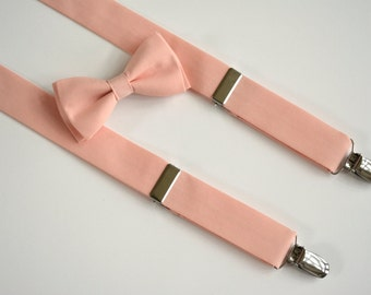Bow tie and suspenders for boys,wedding peach suspenders and bow ties