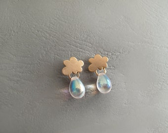 Tiny Cloud Stud Earrings with Rainbow  Drops - 925 Sterling Posts - Gift for Her