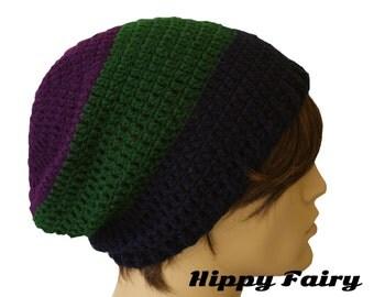 Stripe hat,  mens slouch hat, crochet beanie Mens beanie hat, , crochet mens hat, beanie for men, vegan hat