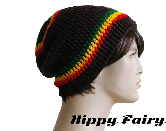 Items similar to Mens Slouch beanie, Rasta colors on Etsy Dreadlock Hats For Men
