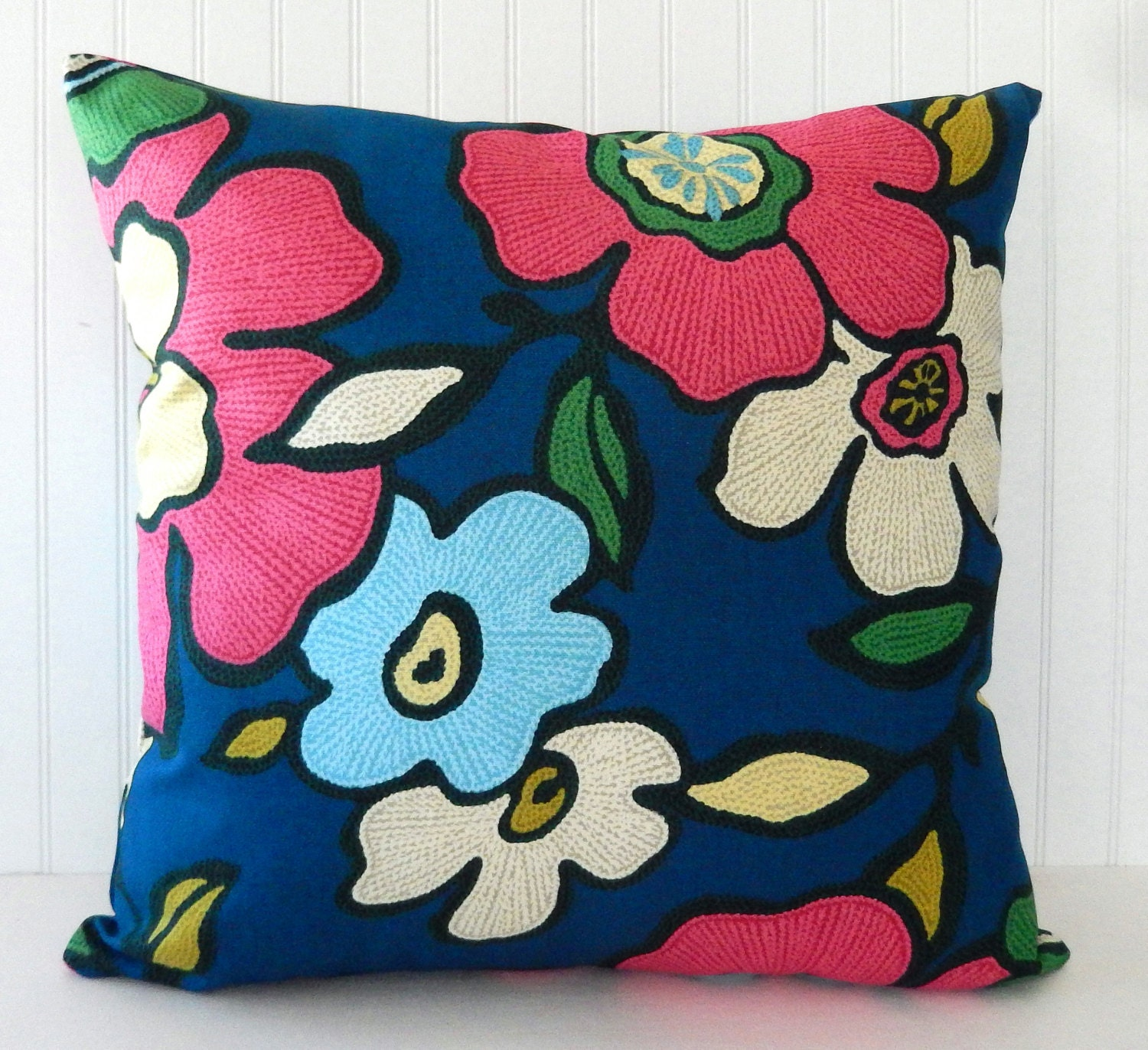 Blue Pink Floral Pillow Covers Blue Throw Pillow by Pookadellas