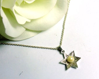 Vintage Sterling Silver & Pearl Theda Star of David Charm Pendant with Necklace