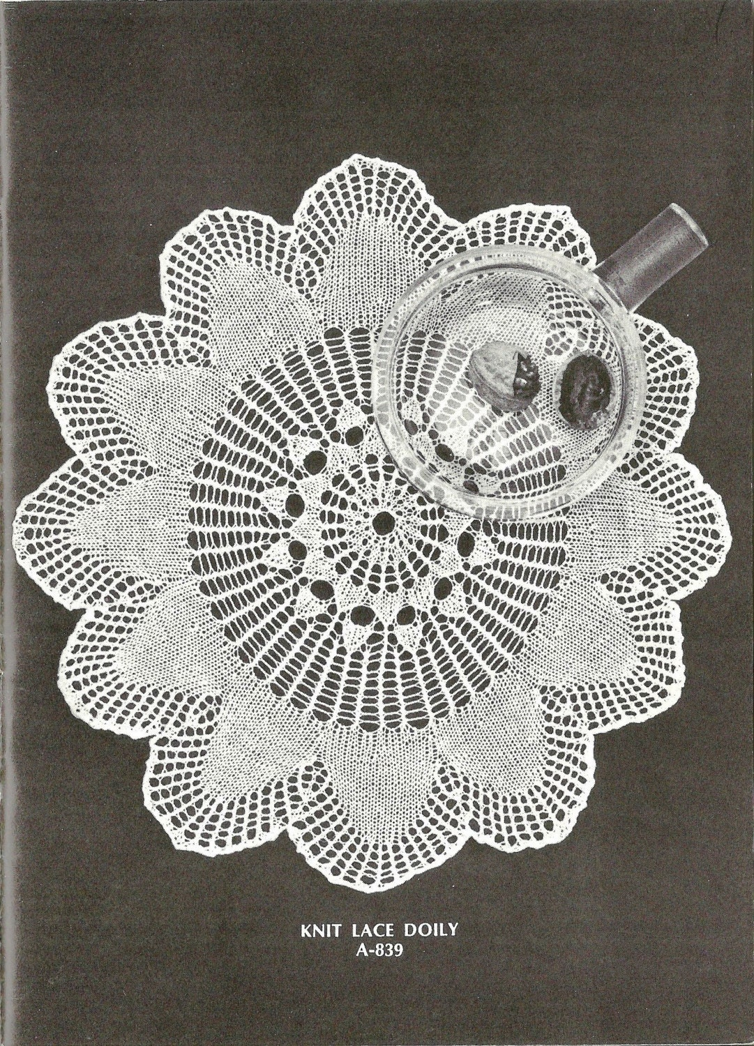 Vintage Knitting Pattern Lace Doily 1970s instant download