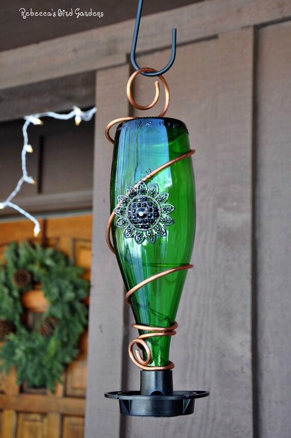 Glass bottle bird feeder for Glasses made out of bottles