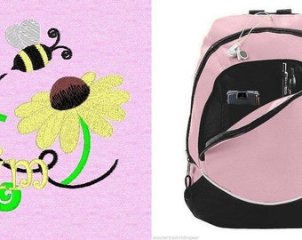 FREE SHIPPING - Personalized Monogrammed Sunflower Bee Backpack Book Bag school tote  - NEW