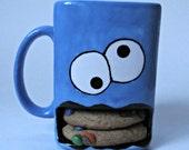 Crazy eyed Monster Mug. Cookie Cup. Kids Cup. Children's Mug. Milk & Cookies. Blue, White, Black Mug