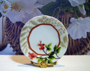 Elegant Flowers Miniature plate for Dollhouse 1:12 scale