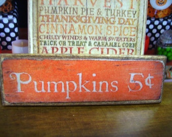 Pumpkins Miniature Wooden Plaque
