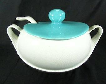 Soup tureen, Turquoise soup tureen, bowl.serving bowl,ladle ,