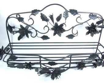 Vintage Shelf, metal shelf, tole shelf,shabby chic decor, scroll, wall hanging, wall decor,black shelf,