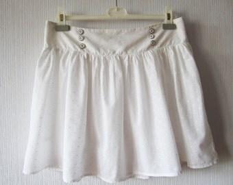 White Mini Skirt Ruffle Cotton Batiste Summer Skirt Size Medium to Large