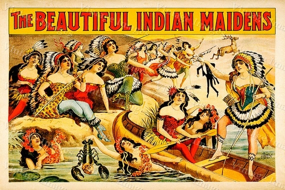 vintage The Beautiful Indian Maidens vaudeville theater act Poster  Fine Art Print Giclee home wall decor