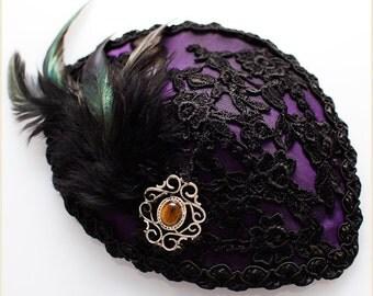 "Purple Taffetas Hat Fascinator ""Perle"" Lace Filigree Tigereye Cab - UNIQUE PIECE"