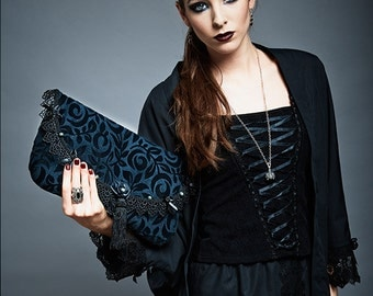 "Luxury Velvet Black Lace Evening Clutch Bag + Pouches ""Opera"" Seraphinite Beads (3 PIECES SET)"