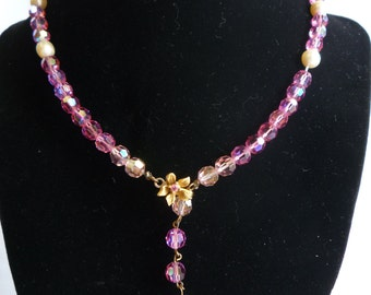 Robert DeMario Pink Glass and Pearl Necklace