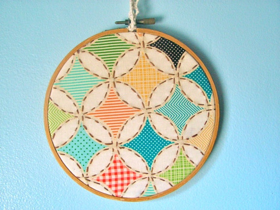 Embroidery hoop nursery wall decor embroidered quilt