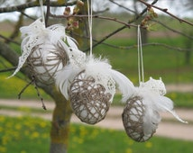 Easter Eggs, Linen thread wrapped, Easter decorations, Home decor, Ornaments,  set of 3, Grey and White