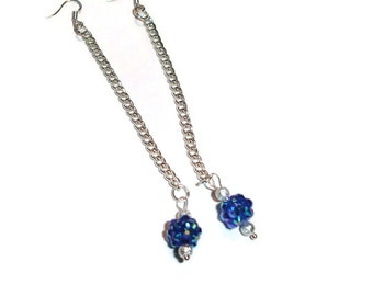 Dangly Long Blue and Silver Shamballa Earrings
