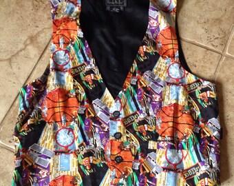 Vintage Nicole Miller Silk Basketball Vest