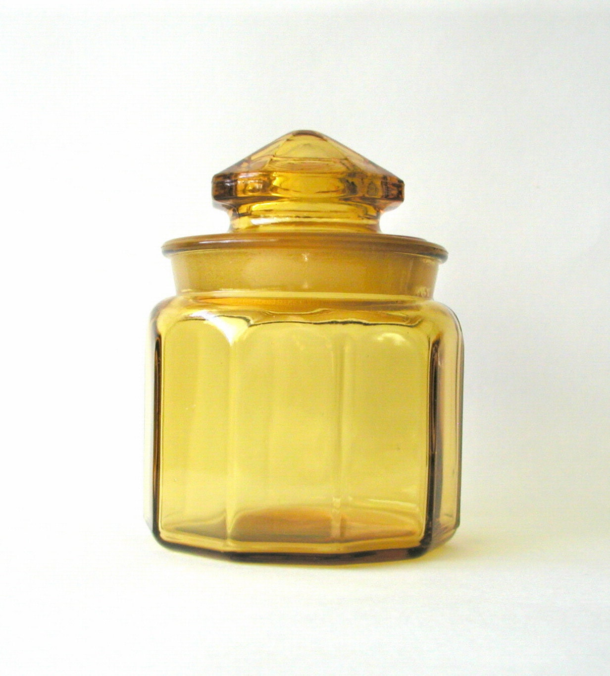SALE Amber Glass Apothecary Jar Container Vintage Home Decor