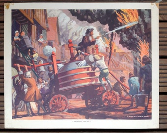 1950s MacMillans History school poster - A Fire-Engine Late 17th C
