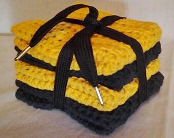 Crochet Team Spirit Wash Cloths/Dish Cloths Gold and Black