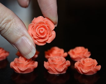 8 resin cabochons roses, 18-20 mm x 9 mm, 4 pairs orange roses, flat back