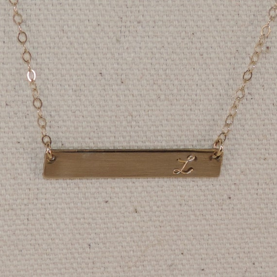 items similar to gold horizontal bar initial necklace. Black Bedroom Furniture Sets. Home Design Ideas