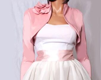 Wedding cover up/Plus Size / peach pink / taffeta bridal shrug / long sleeve /  wedding / bridesmaid/ bolero