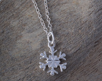 Sterling silver snowflake necklace dainty pendant charm winter snow
