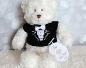 """Ring Bearer Gift, Teddy Bear, Personalized Gift, Wedding Keepsake, 12"""" White Bear"""