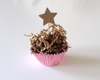 25 Kraft Paper Star Cupcake Toppers