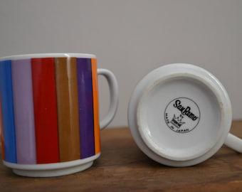 San Remo Pair Mugs  Color Stripes