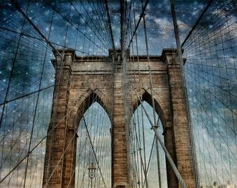 New York Photography, NY  Art, New York  Prints, Urban Art, NY Photo, Brooklyn Bridge, Blue Twilight Sky, Bridge Photography, Brooklyn Art